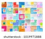watercolor abstract square... | Shutterstock . vector #1019971888
