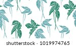 tropical leaves seamless... | Shutterstock .eps vector #1019974765