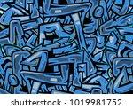 blue wild style graffiti... | Shutterstock .eps vector #1019981752