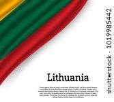 waving flag of lithuania on...
