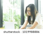 beautiful asian attractive... | Shutterstock . vector #1019988886