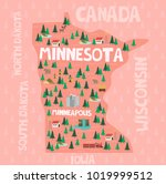 illustrated map of the state of ... | Shutterstock .eps vector #1019999512