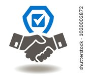 handshake shield check mark... | Shutterstock .eps vector #1020002872