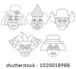 clown s face colorless  set....   Shutterstock .eps vector #1020018988