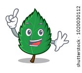 finger mint leaves mascot...   Shutterstock .eps vector #1020030112