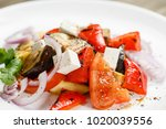 grilled vegetables salad with... | Shutterstock . vector #1020039556