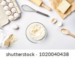 baking ingredients for pastry... | Shutterstock . vector #1020040438