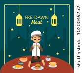pre dawn meal illustration | Shutterstock .eps vector #1020046252