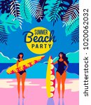 summer vector poster. people on ... | Shutterstock .eps vector #1020062032