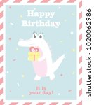 happy birthday card with fun... | Shutterstock .eps vector #1020062986
