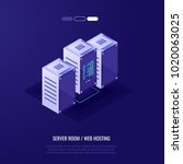 server room  row of three... | Shutterstock .eps vector #1020063025