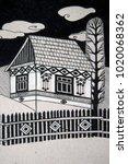 traditional rural house  black... | Shutterstock . vector #1020068362