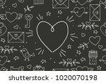 seamless doodles valentine's... | Shutterstock .eps vector #1020070198