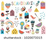 set of cute scandinavian style... | Shutterstock .eps vector #1020073315