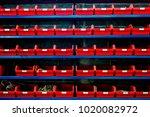 pattern of red storage... | Shutterstock . vector #1020082972