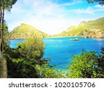 paleokastritsa famous resort... | Shutterstock . vector #1020105706