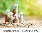 house model on coins stack for... | Shutterstock . vector #1020111592