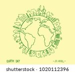 happy earth day on creme... | Shutterstock .eps vector #1020112396