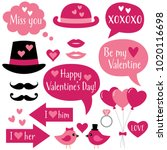 photo booth props and speech...   Shutterstock .eps vector #1020116698