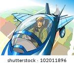 pilot in the cockpit | Shutterstock .eps vector #102011896