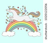 image happy unicorn on blue... | Shutterstock .eps vector #1020122056