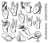 vintage hands collection with... | Shutterstock .eps vector #1020123562