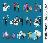 isometric people and stress set ... | Shutterstock .eps vector #1020123565