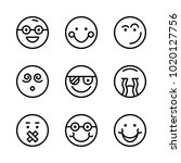 icons emoticons. vector smile ... | Shutterstock .eps vector #1020127756