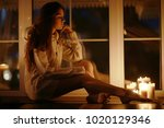 romantic evening with candles... | Shutterstock . vector #1020129346