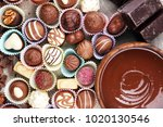 a lot of variety chocolate... | Shutterstock . vector #1020130546