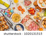 breakfast or brunch table... | Shutterstock . vector #1020131515