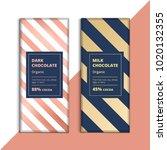 organic dark and milk chocolate ... | Shutterstock .eps vector #1020132355