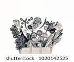 white and black image. paper... | Shutterstock . vector #1020142525