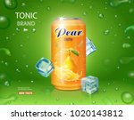 pear juice drink aluminium can... | Shutterstock .eps vector #1020143812