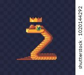 king snake with crown. pixel... | Shutterstock .eps vector #1020144292