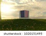 3d rendering of american flag... | Shutterstock . vector #1020151495