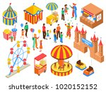 amusement park isometric set... | Shutterstock .eps vector #1020152152