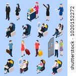 airplane passengers and crew... | Shutterstock .eps vector #1020152272