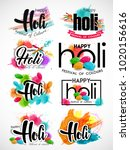 happy holi vector elements for... | Shutterstock .eps vector #1020156616