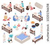 spa and beauty isometric set...   Shutterstock .eps vector #1020156658
