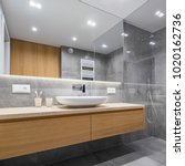 Small photo of Modern bathroom with wooden countertop, shower, basin and big mirror
