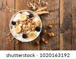 bowl of muesli and fruit   Shutterstock . vector #1020163192