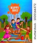 happy holi festival of colors... | Shutterstock .eps vector #1020166372