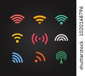 different wireless color... | Shutterstock .eps vector #1020168796
