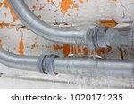 shiny silver conduit utility...   Shutterstock . vector #1020171235