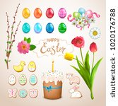 set of easter items. painted... | Shutterstock .eps vector #1020176788