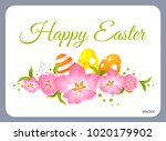 happy easter card. postcard... | Shutterstock .eps vector #1020179902