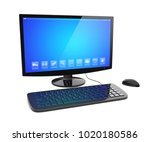 black desktop pc computer with... | Shutterstock . vector #1020180586