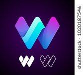 vector abstract letter w logo... | Shutterstock .eps vector #1020187546