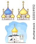 russian church   vector without ... | Shutterstock .eps vector #102019552